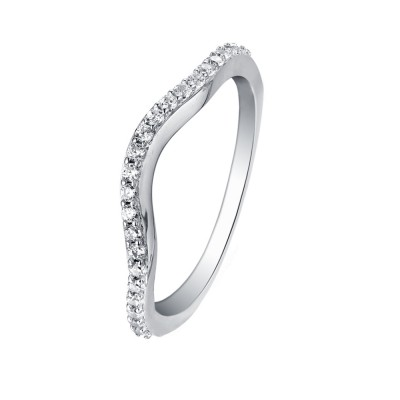 Tinnivi Accent Curved Sterling Silver Wedding Band Ring