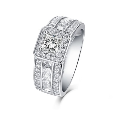 Tinnivi Sterling Silver Stunning Princess Cut Created White Sapphire Halo Engagement Ring