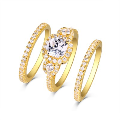 Tinnivi Yellow Sterling Silver Created White Sapphire Halo 3 Stone 3PC Wedding Ring Set