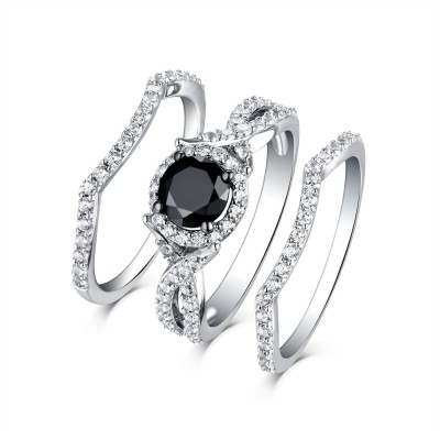 Tinnivi Classic Sterling Silver Black Diamond Halo 3PC Women's Wedding Ring Set