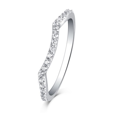 Tinnivi Sterling Silver Accent Curved Wedding Band