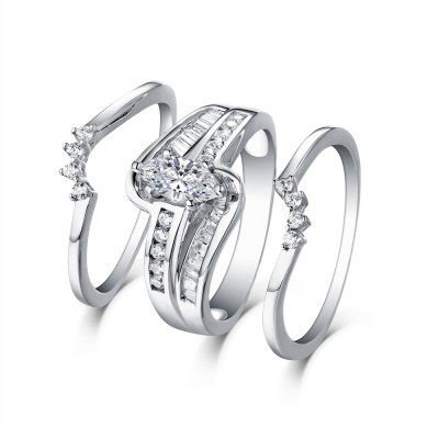 Tinnivi Vintage Style Sterling Silver Marquise Cut Created White Sapphire 3PC Wedding Ring Set