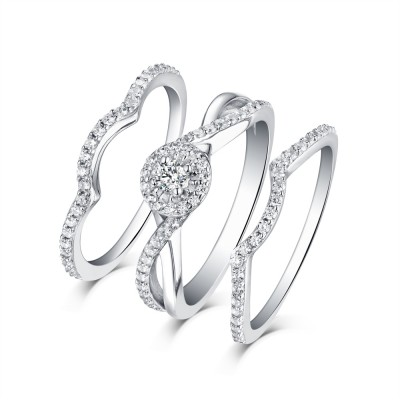 Tinnivi Classic Sterling Silver Created White Sapphire Halo 3PC Wedding Ring Set