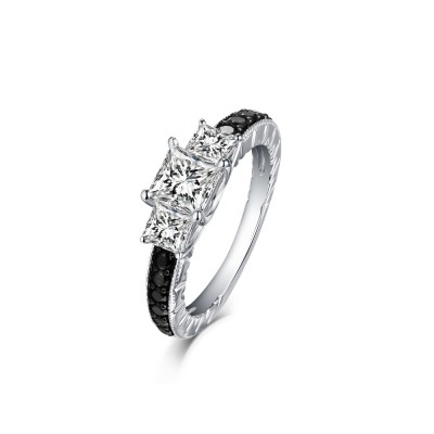 Tinnivi Sterling Silver Three Stones Princess Cut Created White Sapphire With Created Black Diamond Sidestone Engagement Ring