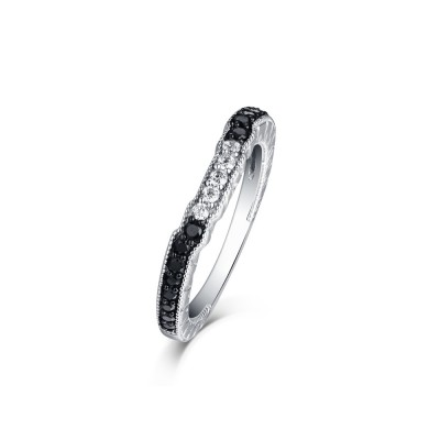 Tinnivi Created White Sapphire With Created Black Diamond Sterling Silver Wedding Band