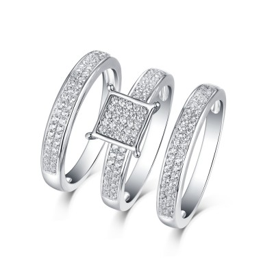 Tinnivi Vintage Style Sterling Silver Created White Sapphire 3PC Women's Wedding Ring Set