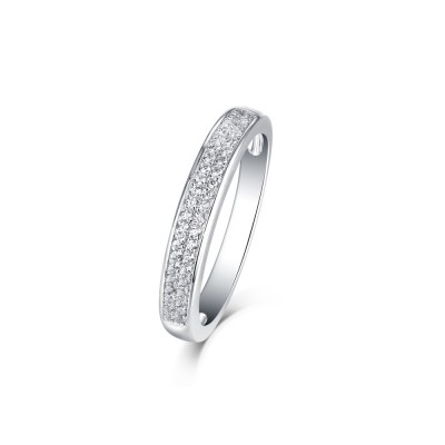 Tinnivi Double Row Sterling Silver Created White Sapphire Wedding Band