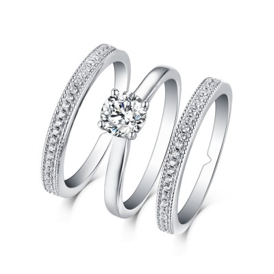 Tinnivi Classic Sterling Silver Created White Sapphire 3PC Solitaire Engagement Wedding Ring Set