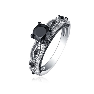 Tinnivi Stylish Round Cut Created Black Diamond Sterling Silver Engagement Ring
