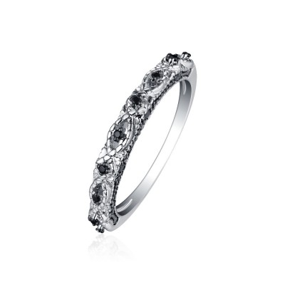 Tinnivi Created Black Diamond Sterling Silver Wedding Band