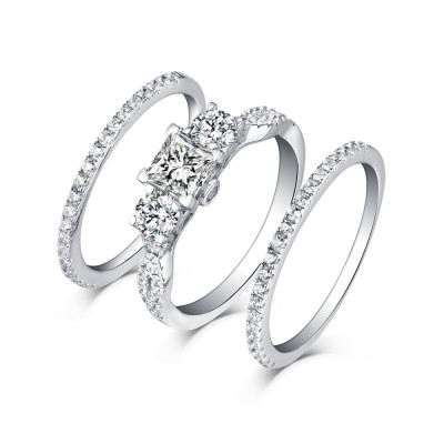 Tinnivi Classic Sterling Silver 3 Stone Princess Cut Created White Sapphire 3PC Wedding Ring Set