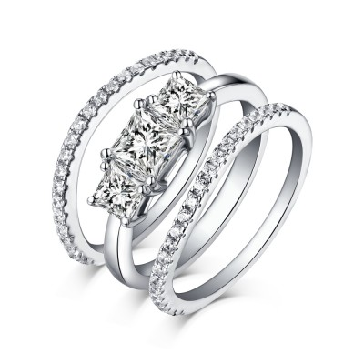 Tinnivi Sterling Silver Princess Cut Created White Sapphire Three Stone 3PC Wedding Ring Set
