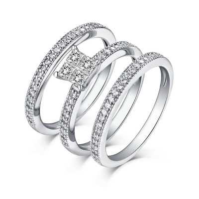 Tinnivi Sterling Silver Princess Cut Created White Sapphire 3PC Women's Wedding Set