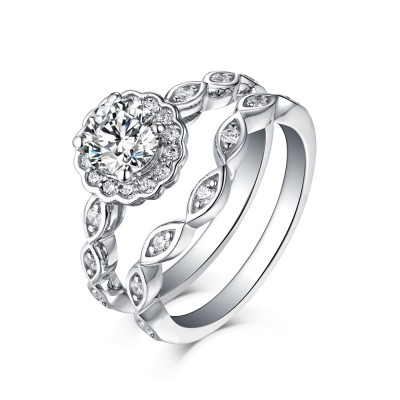 Tinnivi Sterling Silver Round Cut Created White Sapphire Halo Bridal Ring Set