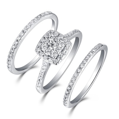 Tinnivi Sterling Silver Double Halo Round Cut Created White Sapphire 3PC Wedding Ring Set