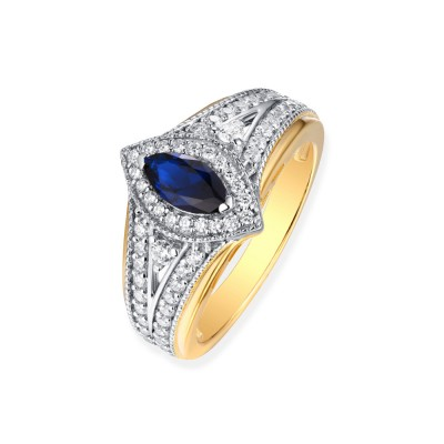 Tinnivi Vintage Sterling Silver Marquise Cut Created Sapphire Halo Engagement Ring