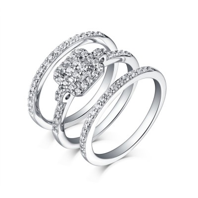 Tinnivi Halo Sterling Silver Round Cut Created White Sapphire 3 Piece Wedding Ring Set