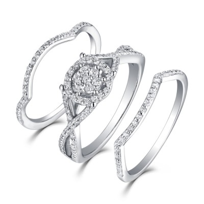 Tinnivi Sterling Sliver Round Cut Created White Sapphire Double Halo 3PC Wedding Ring Set