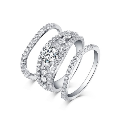 Tinnivi Sterling Silver Round Cut Pave Created White Sapphire 3PC Women's Wedding Ring Set