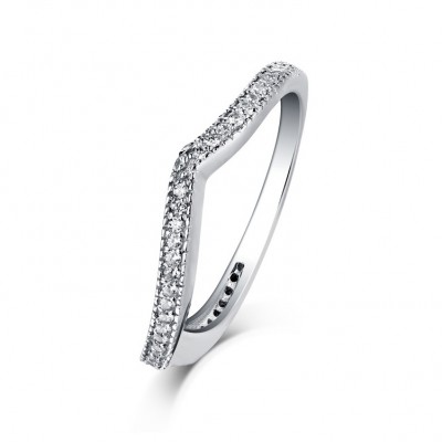 Tinnivi Fashion Sterling Silver Created White Sapphire Stackable Band