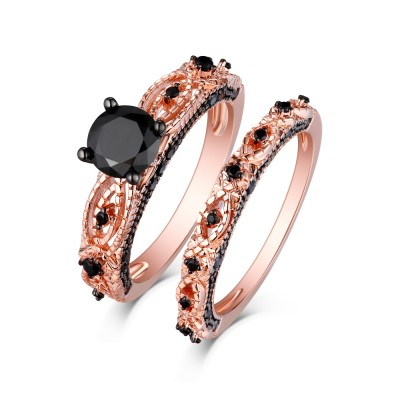 Tinnivi Sterling Sliver Black Diamond Rose Gold Infinity Bridal Ring Set