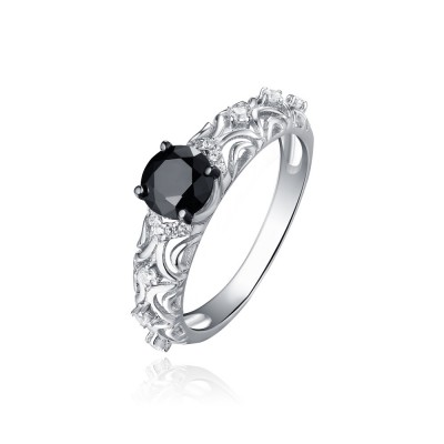 Tinnivi Stylish Pattern Sterling Silver Created Black Diamond Engagement Ring