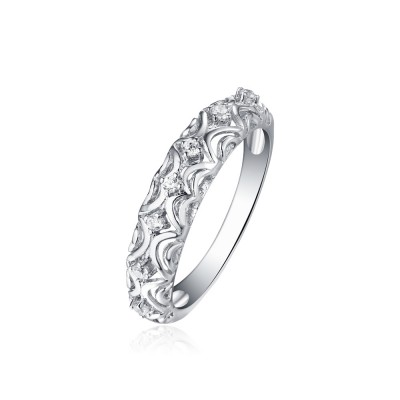 Tinnivi Wave Pattern Created White Sapphire Sterling Silver Wedding Band