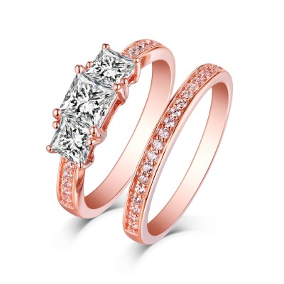 Tinnivi Classic Sterling Sliver 3 Stone Princess Cut Created White Sapphire Rose Gold Color 2 Piece Bridal Ring Set