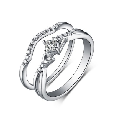 Tinnivi Sterling Silver Created White Sapphire Princess Classic Bridal Ring Set