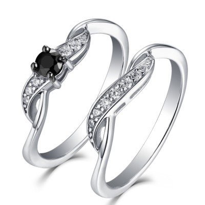 Tinnivi Sterling Silver Round Cut Black Diamond 2 Piece Bridal Set For Her