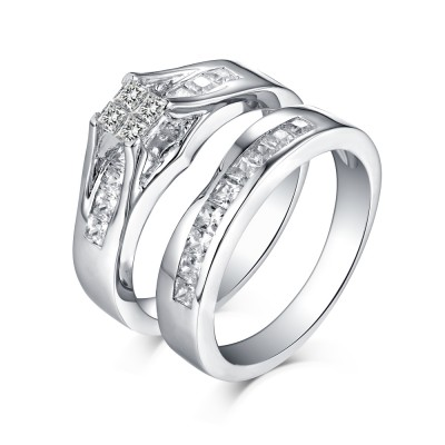 Tinnivi Sterling Silver Princess Cut Quad Created White Sapphire Women's Wedding Ring Set