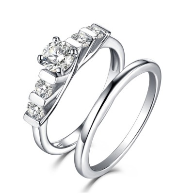 Tinnivi Classic Sterling Silver Created White Sapphire Vintage 2 Piece Women's Wedding Set
