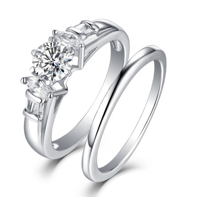 Tinnivi Vintage Sterling Silver Created White Sapphire 2 Piece Women's Bridal Ring Set
