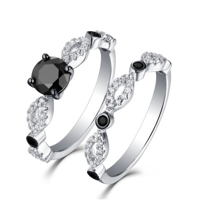 Tinnivi Sterling Sliver Black Diamond Infinity Bridal Ring Set