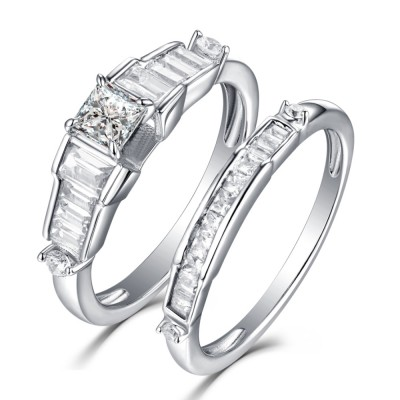 Tinnivi Sterling Silver Classic Princess Cut Created White Sapphire 2 Piece Engagement Bridal Set