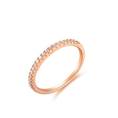 Tinnivi Pave Created White Sapphire Rose Gold Plated Sterling Silver Wedding Band