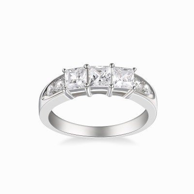 Tinnivi Sterling Silver Three Stones Princess Cut Created White Sapphire Wedding Band