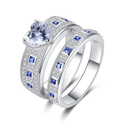 Classic Heart Cut Blue Sterling Silver Women's Engagement Ring