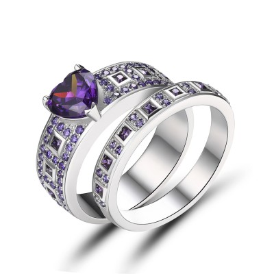 Heart Cut Amethyst Sterling Silver Women's Engagement Ring