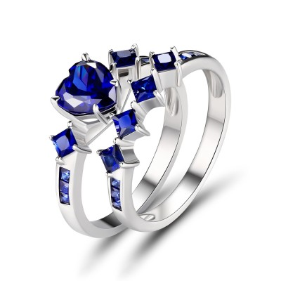 Heart Cut Sapphire 925 Sterling Silver Women's Engagement Ring
