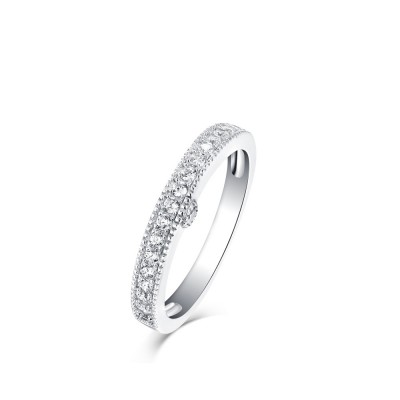 Tinnivi Simple Created White Sapphire Sterling Silver Wedding Band
