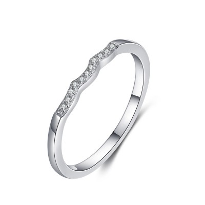 Tinnivi Sterling Silver Stylish Created White Sapphire Stackable Band