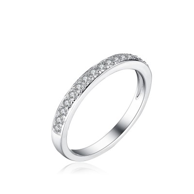 Tinnivi Round Cut Created White Sapphire Sterling Silver Wedding Band