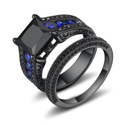 Black Princess Cut Black 925 Sterling Silver Engagement Ring