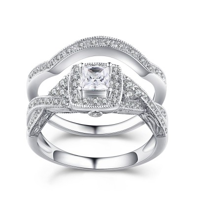 Tinnivi Princess Cut Gemstone 925 Sterling Silver Wedding Sets