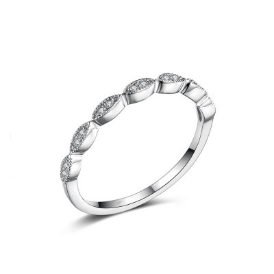 Tinnivi Stylish Created White Sapphire Sterling Silver Wedding Band