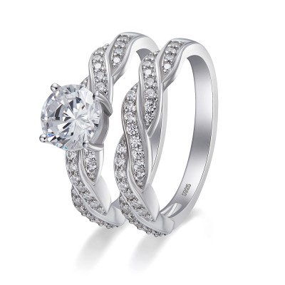 Tinnivi Round Cut Gemstone 925 Sterling Silver Wedding Ring Sets