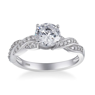 Tinnivi Round Cut Created White Sapphire Twist Sterling Silver Engagement Ring
