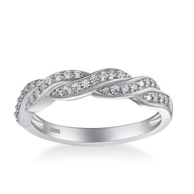 Tinnivi Special Design Created White Sapphire Twist Sterling Silver Wedding Band