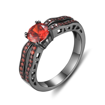 Tinnivi Sterling Silver Round Cut Created Garnet Black Engagement Ring